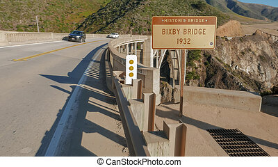 shot of bixby bridge on highway 1 along the california coast