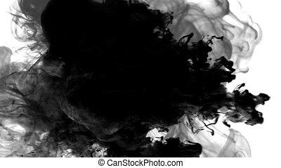 Shot of black smoke on white background HD 1080