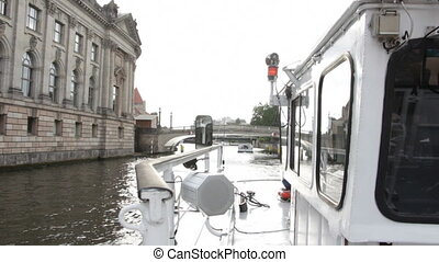 Boat sailing in the canal - Shot of Boat sailing in the...