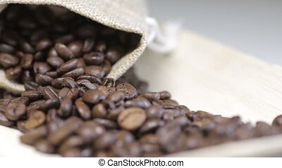 "Shot of Change focus on coffee beans - ""100%, advertise,..."