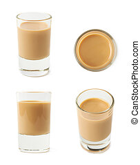 Shot of cream liqueur isolated over the white background, ...