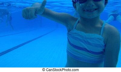 cute girl signal like underwater