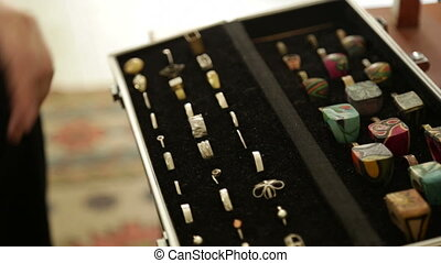 Designer rings in a metal case - Shot of Designer rings in a...