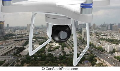 Drone with camera shooting over urban population - Shot of...