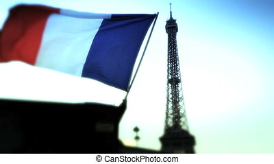 French flag in Paris - Shot of French flag in Paris