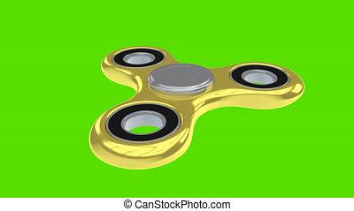 Gold 3d render model of fidget spinner rotating with alpha...
