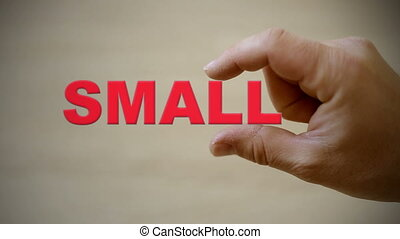 Hand holding the word SMALL