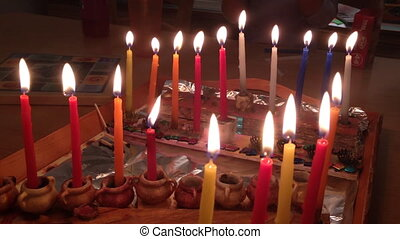 hanukkah candles - Shot of hanukkah candles