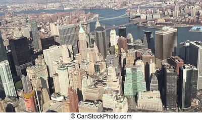 Shot of Helicopter Flight Over NYC