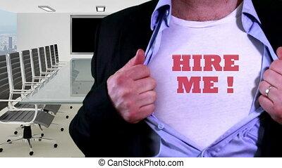 Hire me concept shirt - Shot of Hire me concept shirt