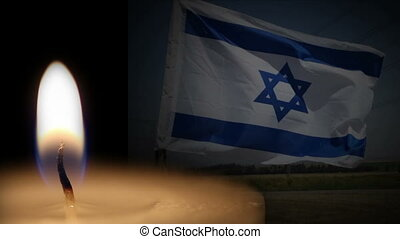 Shot of Israel memorial background with flag and candle -...