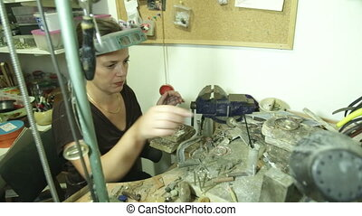 Jewelry Designer workshop - Shot of Jewelry Designer...