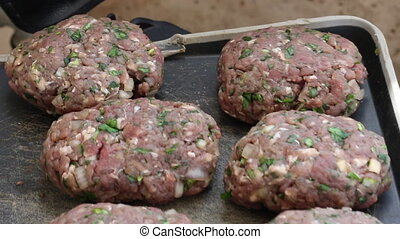 Kebab meat for bbq preparation - Shot of Kebab meat for bbq...