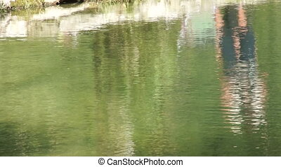 Shot of lake scenic in summer. Blurred nature unfocused background.