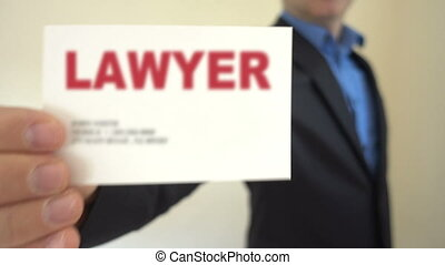 Lawyer Present Business Card - Shot of Lawyer Present...