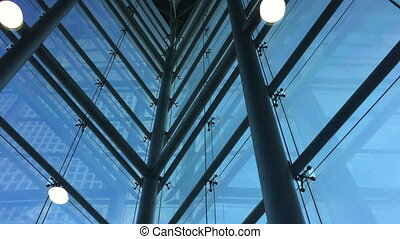 lift in a modern glass building