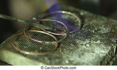 Macro detail shot of soldering jewelry