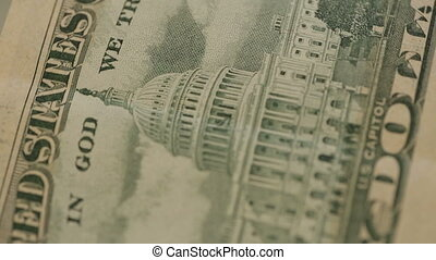 Macro shot of USD bills rotating background - Shot of Macro...