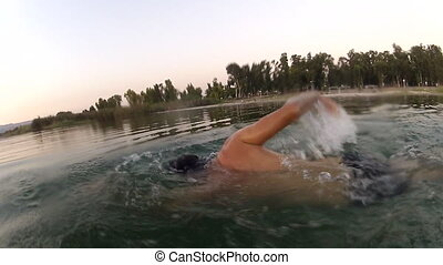Shot of man swim