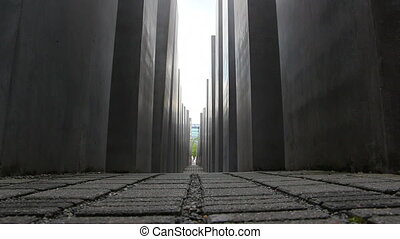 MVI_low angle of Memorial to the Murdered Jews of Europe -...
