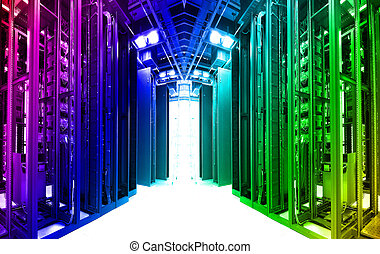 shot of network cables and servers in a technology data...