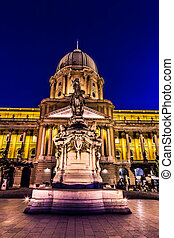shot of night Buda Castle in Budapest, Hungary