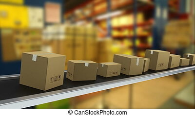 Packages on production line ready for delivery