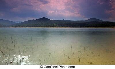 shot of pantano de boadella lake in catalyna spain