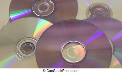 Pile of DVD and CD rotating - Shot of Pile of DVD and CD...