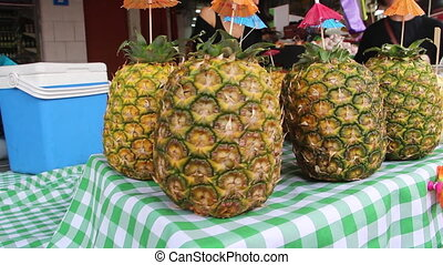 pineapple in the market - Shot of pineapple in the market
