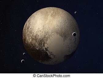 Shot of Pluto taken from open space. Collage images provided...