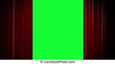 Red curtain open on green screen - Shot of Red curtain open...