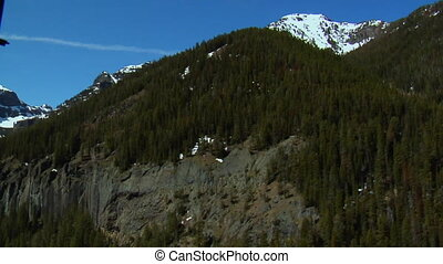 Shot of rocky mountain face with snow and pines
