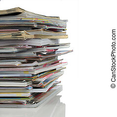 shot of stack of newspaper isolated on white