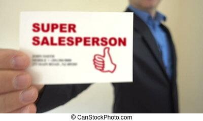Super Salesperson Show Business Card - Shot of Super...