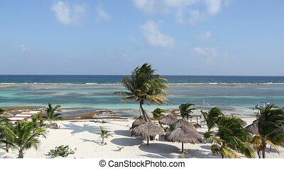 shot of the beautiful mahahual beach on the mexican...