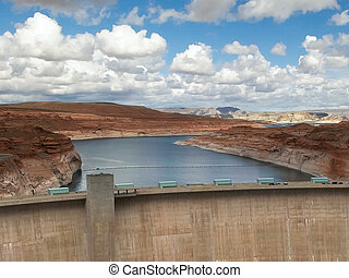 shot of the glen canyon dam and lake powell in page, az