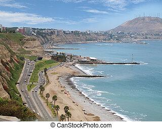 Shot of the Green Coast beach, in Miraflores, Lima-Peru