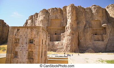 Shot of the historic necropolis of the Persian kings - A...