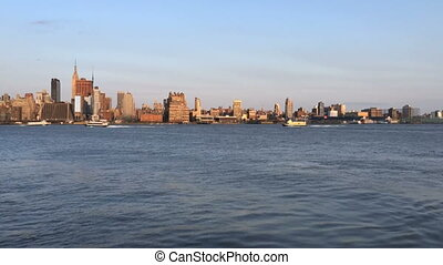 Time Lapse of NY skyline from NJ - Shot of Time Lapse of NY...