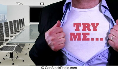 Shot of Try me concept shirt
