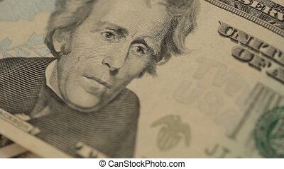 US dollar bills fast rotating background - Shot of US dollar...