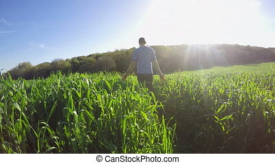 Walking in a green field