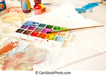 Shot of watercolors with brush