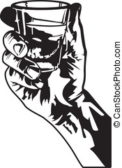 Shot of Whiskey - This is a vector illustration of a hand...
