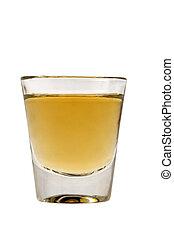 Shot of Whiskey - Whiskey neat in shot glass on white ...