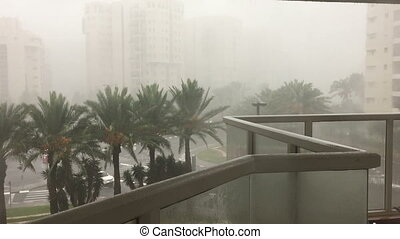 Shot of Wind and rain in a storm at Tel-Aviv city -...