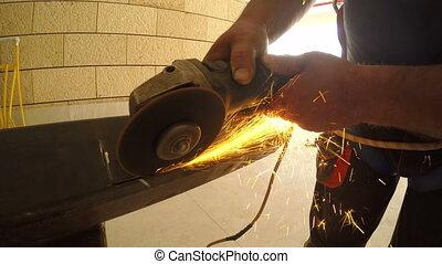 Worker welding metal - Shot of Worker welding metal