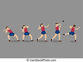 Shot Put Action Sequence Vector Character Illustration - ...