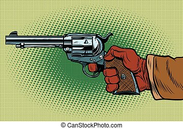 Shot Western Wild West. pop art retro vector illustration. Steampunk style. Science fiction